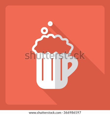 Flat modern design with shadow  Icon beer - stock vector