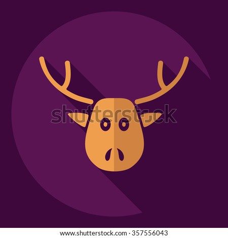 Flat modern design with shadow  Icon Christmas reindeer - stock vector