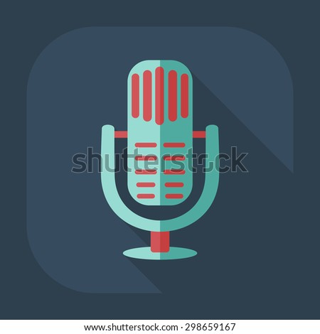 Flat modern design with shadow icon microphone - stock vector