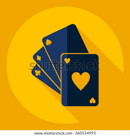 Flat modern design with shadow  Icon poker  - stock vector