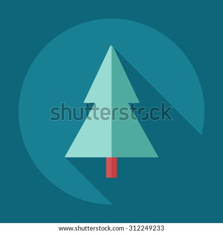 Flat modern design with shadow icons Christmas tree - stock vector