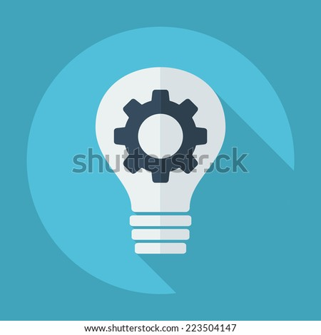 Flat modern design with shadow icons for web design and mobile applications, SEO. search Engine Optimization: bulb and gear is - stock vector