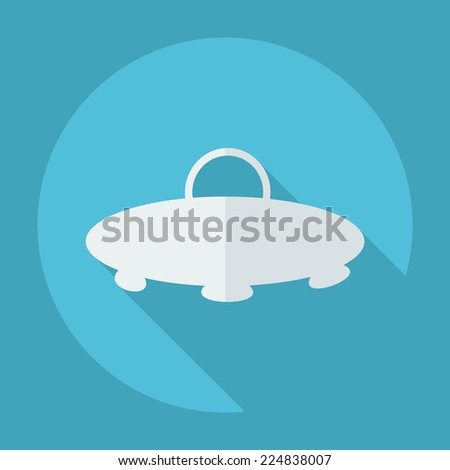 Flat modern design with shadow icons for web design and mobile applications, SEO. search Engine Optimization: a UFO - stock vector