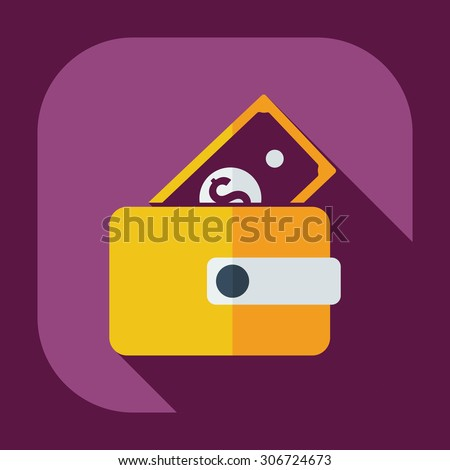 Flat modern design with shadow icons purse - stock vector