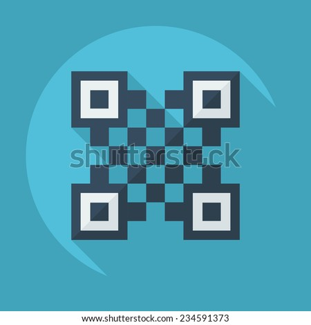 Flat modern design with shadow QR-Code - stock vector