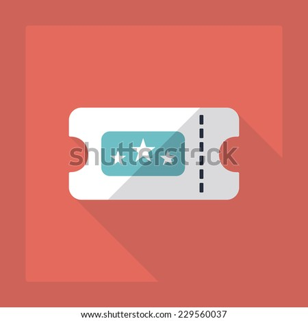 Flat modern design with shadow, SEO. Icons mobile applications and web design. Working optimization:  ticket to the cinema - stock vector