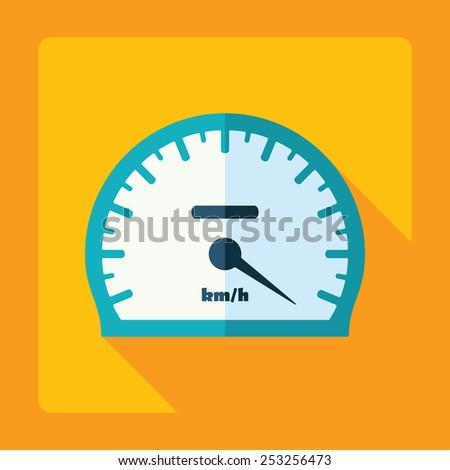 Flat modern design with shadow, speedometer, speed indicator - stock vector