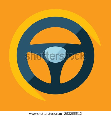 Flat modern design with shadow, steering wheel - stock vector