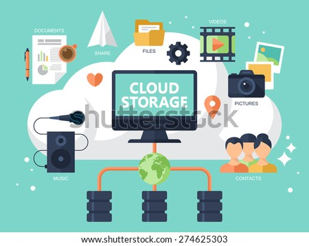 Flat modern icons for cloud storage concept - stock vector