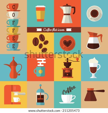 Flat modern icons for coffee shop. Vector illustration - stock vector