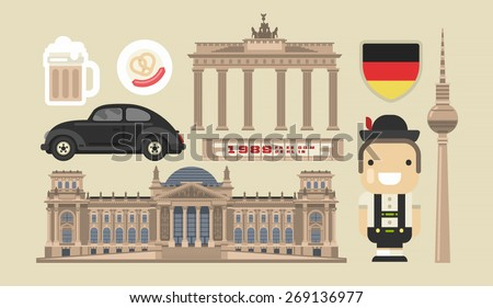 Flat modern vector Berlin, the capital of Germany icons with tv tower,Bundestag, triumphal arch and Berlin wall - stock vector