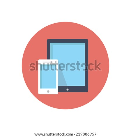 Flat modern vector icon: tablet and phone. - stock vector