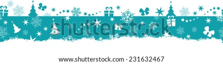 Flat monochrome border design with Christmas and winter symbols that will tile seamlessly horizontally. Great for decoration. - stock vector
