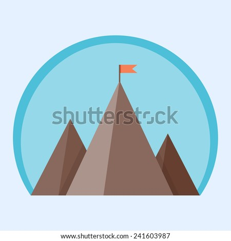 Flat mountain peak with flag - vector illustration of a goal achievement, success or victory  - stock vector
