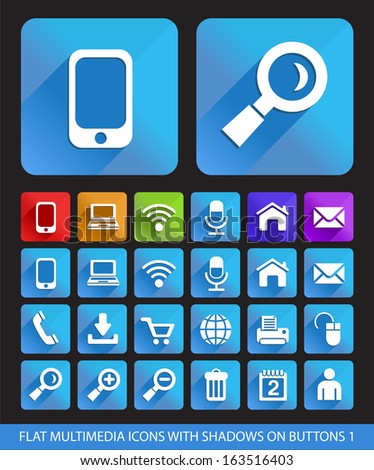 Flat Multimedia Icons with Shadows on Buttons 1. - stock vector