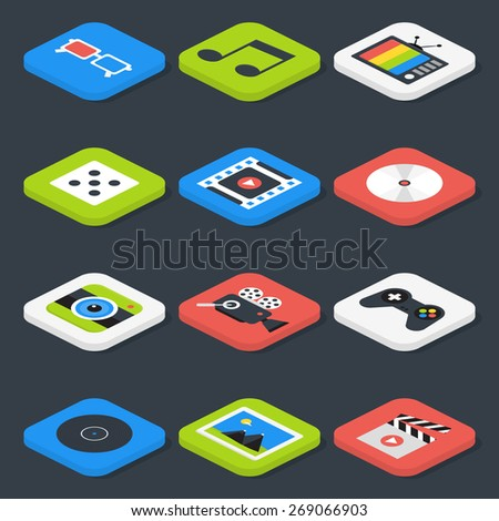 Flat Multimedia, Video, Audio Isometric Icons Set. Vector Photo, Music and Games Icons Set - stock vector