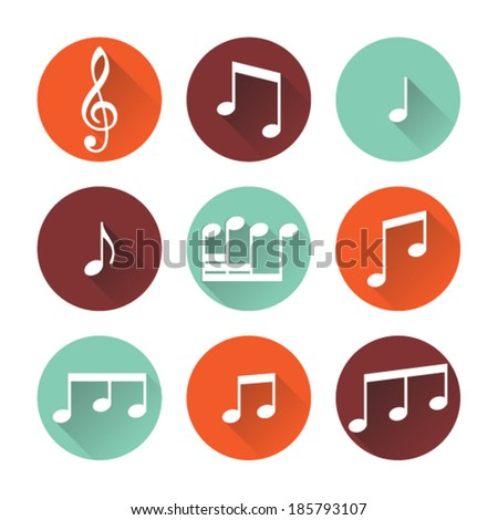 Flat music icons. Music buttons isolated on white background. Vector illustration. - stock vector