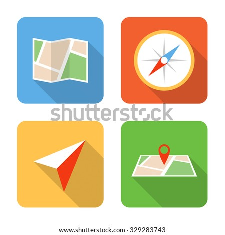 Flat navigation icons with long shadows. Vector illustration - stock vector