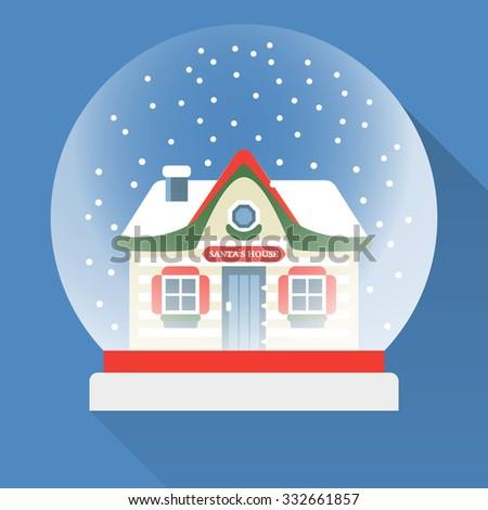 Flat New Year snow globe. Christmas snow globe. Vector snow globe isolated. Merry Christmas glass ball with a Santa`s House inside. - stock vector