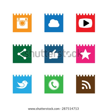 flat notepad paper button designs of camera, like, messenger bird, phone receiver, share - social network vector icons. This also represents rss, cloud computing, playing video - stock vector