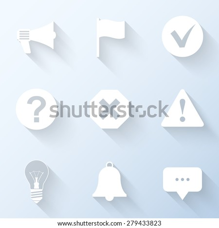 Flat notification icons with long shadows. Vector illustration - stock vector