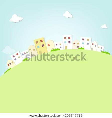 flat panorama town - stock vector