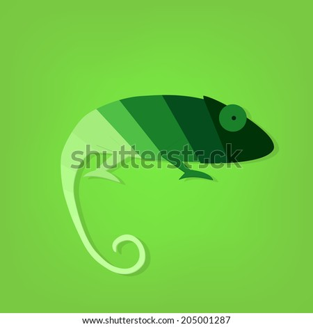flat paper creative chameleon icon - stock vector