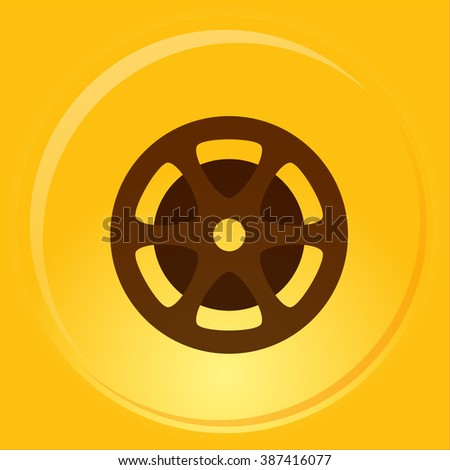 Flat paper cut style icon of old tape spool. Vector illustration - stock vector