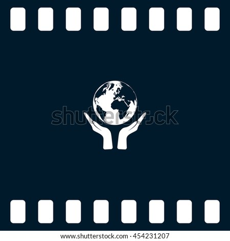 Flat paper cut style icon of two hands holding Earth. Vector illustration - stock vector