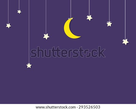 flat paper moon and stars hanging on strings - stock vector