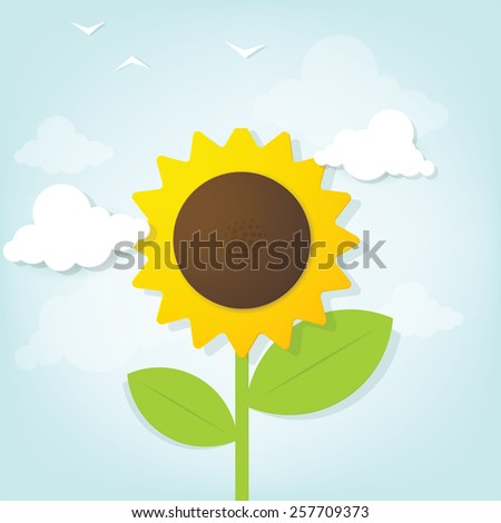 Flat paper sunflower in the sky - stock vector
