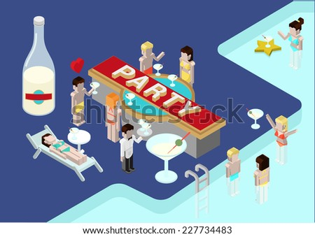 Flat party 3d isometric modern design concept vector icons composition. Alcohol pool party, drinking young male and female, celebration. Web illustration infographics elements conceptual. - stock vector