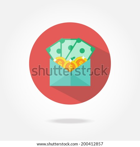 Flat pay check icon. - stock vector
