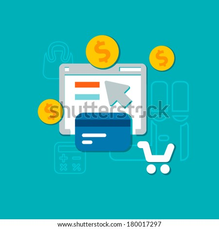 flat payment methods icons for e-commerce, business & finance - stock vector