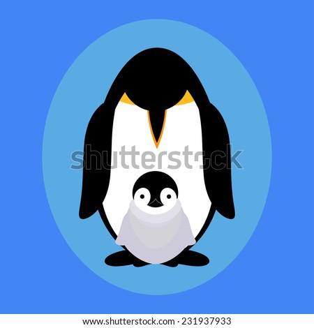 Flat penguin family - stock vector