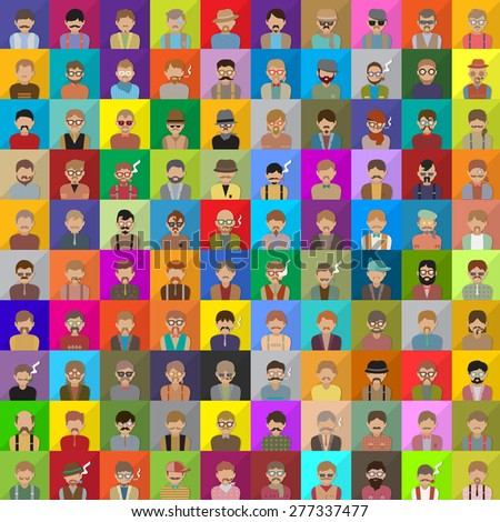 Flat People Icons - On Mosaic Background, Vector Illustration, Graphic Design - stock vector