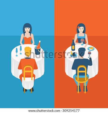 Flat people lifestyle situation evening dinner cafe restaurant concept. Set of young beautiful man and woman couple table drinking champagne wine. Young creative human vector illustration collection. - stock vector