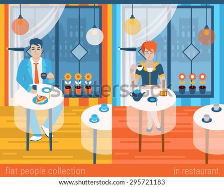 Flat people lifestyle situation in cafe restaurant concept. Set of young beautiful man and woman at table drinking hot beverage alone. Vector illustration collection of young creative humans. - stock vector