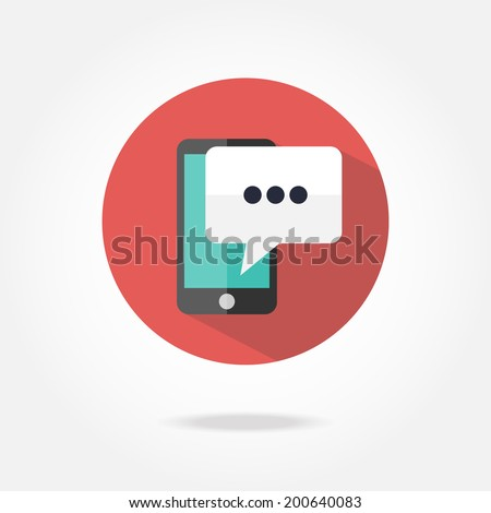 Flat phone message icon. - stock vector