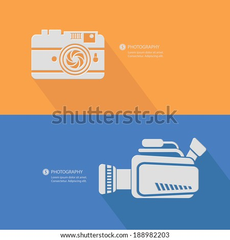 Flat photography concept,Blank for text,vector - stock vector