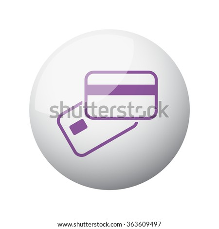 Flat purple Credit Card Payment icon on 3d sphere - stock vector