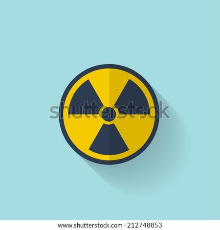 Flat radiation icon. - stock vector