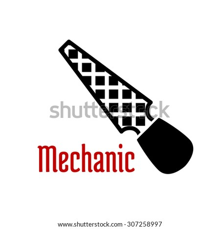 Flat rasp or file tool icon black silhouette with tapered bar and rounded handle isolated on white background - stock vector