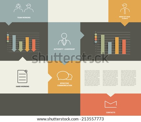 Flat rectangle box diagram for infographics. Vector module chart.  - stock vector