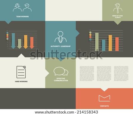 Flat rectangle box diagram for infographics. Vector module chart.  - stock vector
