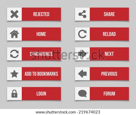 Flat red buttons set 2 - stock vector