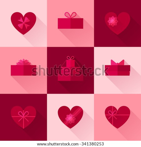 Flat red gift box in the form of heart icon set with different bows. Valentines day surprise. Gift wrapping, wrap, package. Passion pink gift box icons collection with long shadow for web and design. - stock vector