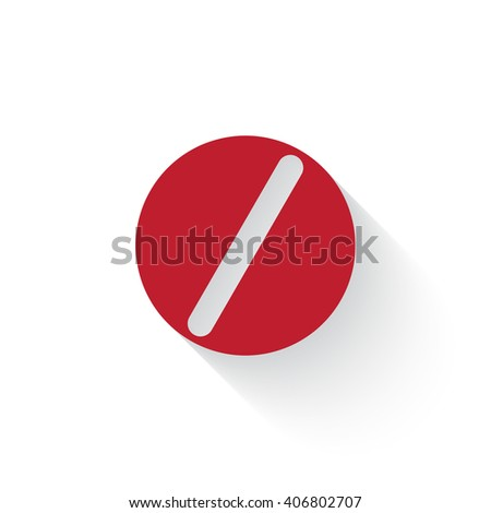 Flat red Pill web icon with long drop shadow on white - stock vector