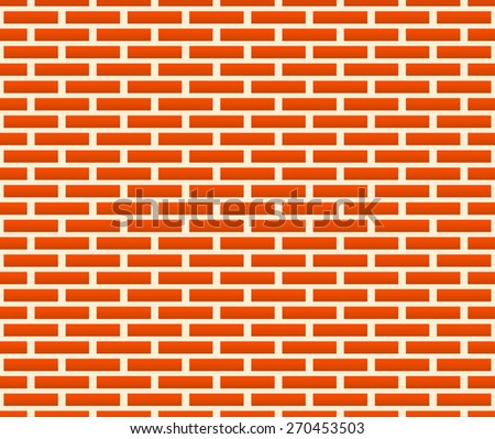 Flat, repeatable pattern of undamaged brick wall texture. Simple duo tone background.  - stock vector