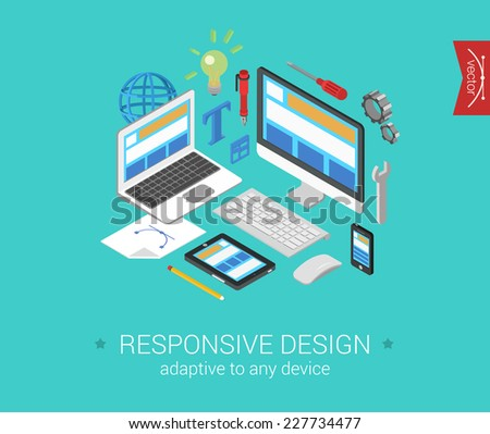 Flat responsive webdesign 3d isometric modern design concept vector. Laptop, desktop, tablet, touch screen phone website interface. Flat web illustration infographics collection for website. - stock vector